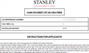 stanley form for US visa Application